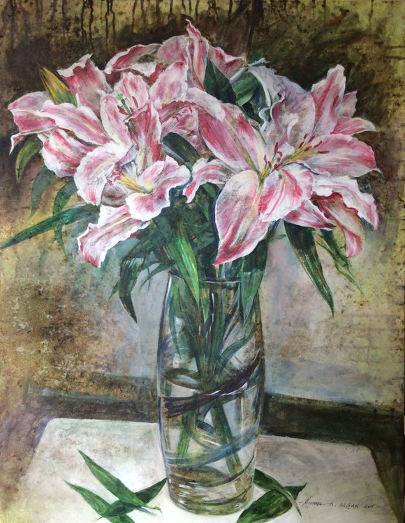 Lilies in the Banded Vase - Image 0