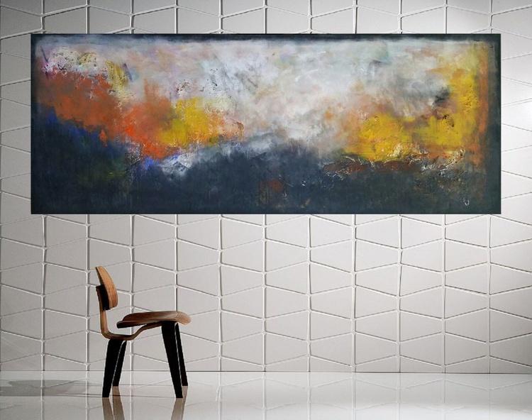 "59x 23,5""( 150x60cm), Lefkada Island Landscape,  orange painting , canvas art, home painting - Image 0"