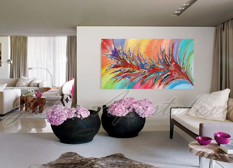 Floral Abstract Art, Colorful Flower Painting, Spring, Landscape, Home Decor, Contemporary Modern Artwork ''Dreaming of Spring'' - Image 0