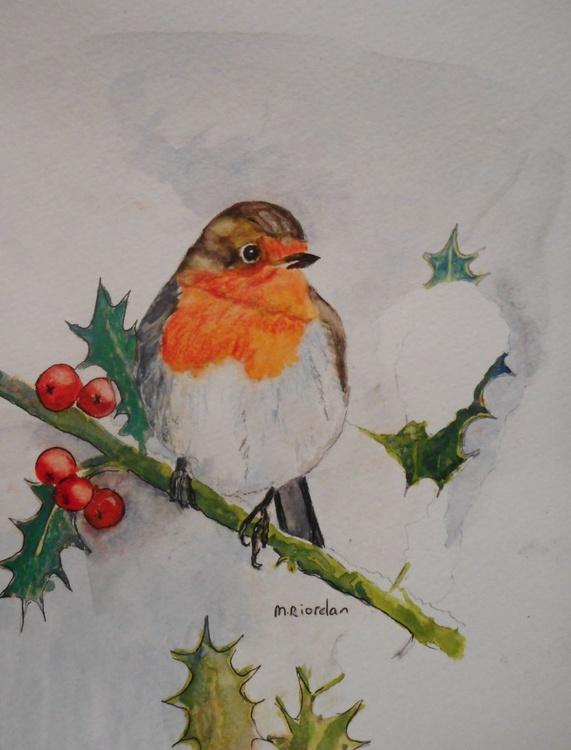 Robin on snowy holly bush - Image 0