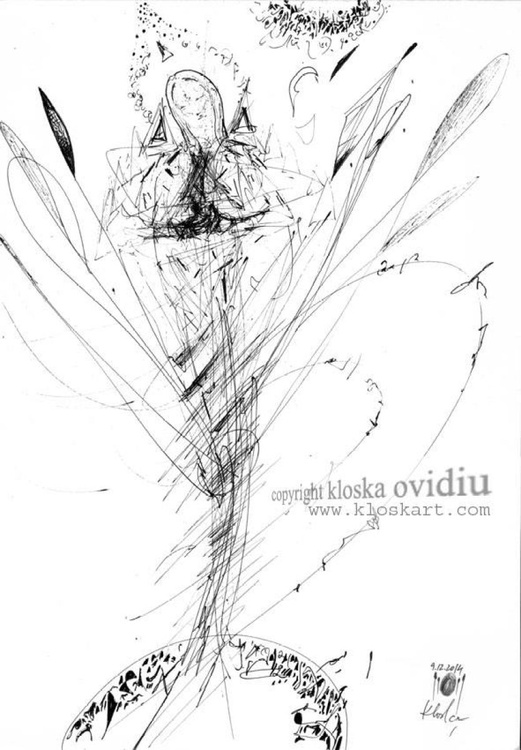 sublime spontaneous ink drawing on paper signed by MASTER OVIDIU KLOSKA - Image 0