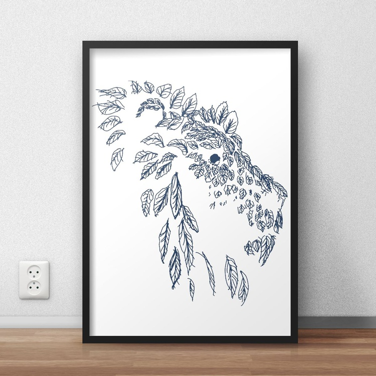 Hand Drawn Navy Blue lLion Head Framed Digital Artwork Print - Image 0