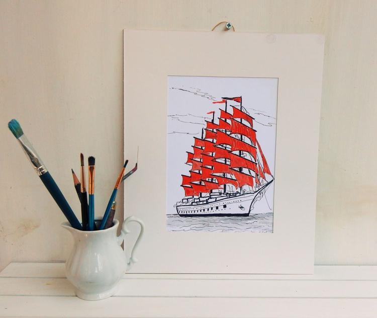 """Sailing ship """"Scarlet sails"""", drawing. - Image 0"""