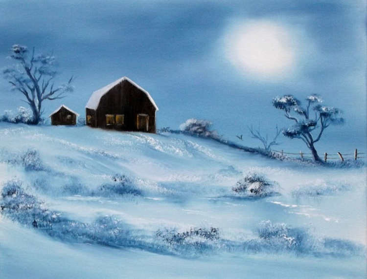 Winter Barns by Moonlight. - Image 0