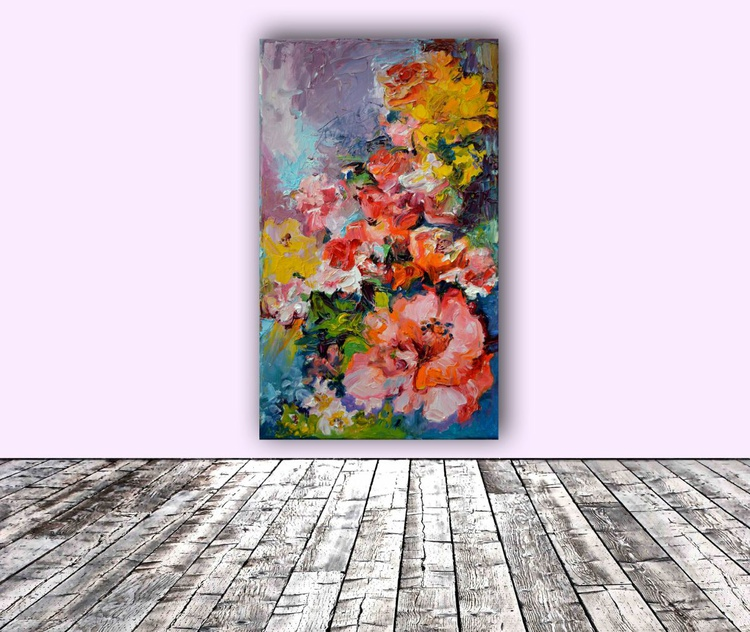 A Corner of Pleasure, Modern Painting - FREE SHIPPING, Ready to Hang Flower Oil Painting - Image 0