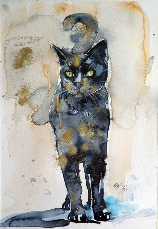 Black cat in gold III -