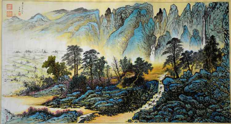 Chinese watercolour Landscape paining,with heavy clour-06 -