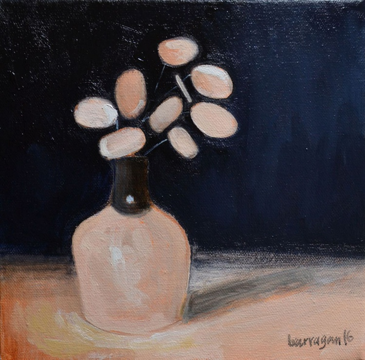 Little Flowers in Vase Still Life Oil Painting with Lacquered Golden Leaf - Image 0