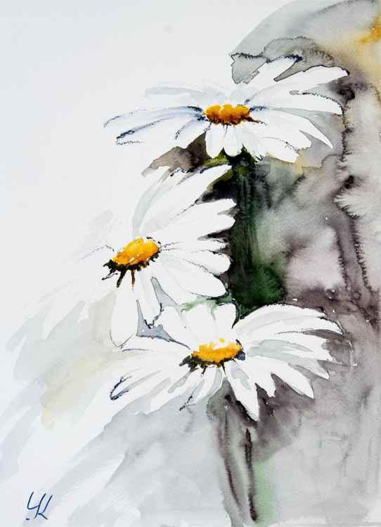 """Daisies"", original watercolour painting, 28x38 cm"