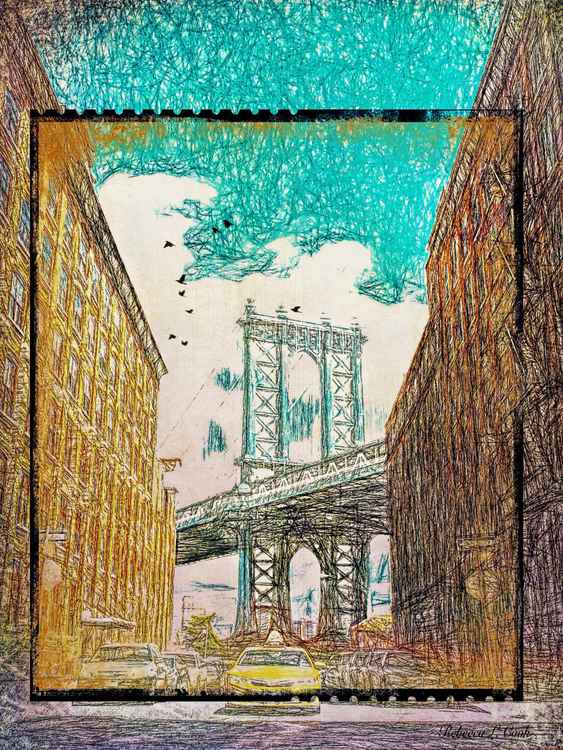 MANHATTAN BRIDGE FROM THE EAST SIDE OF NEW YORK -