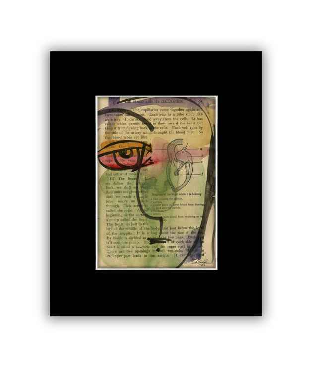 """I See 30"" on Antique Book Page - Abstract Watercolor Painting -"