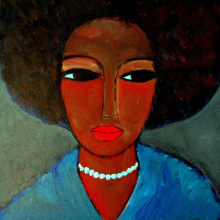 Black lady with pearls - Image 0