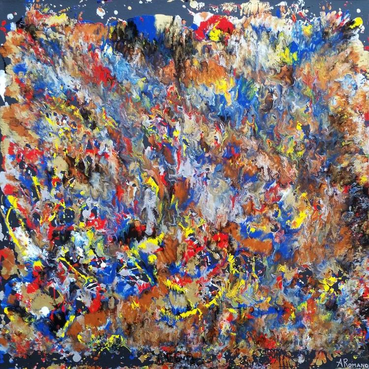 """Metallic Flames"" Original Abstract Fluid Painting - Image 0"