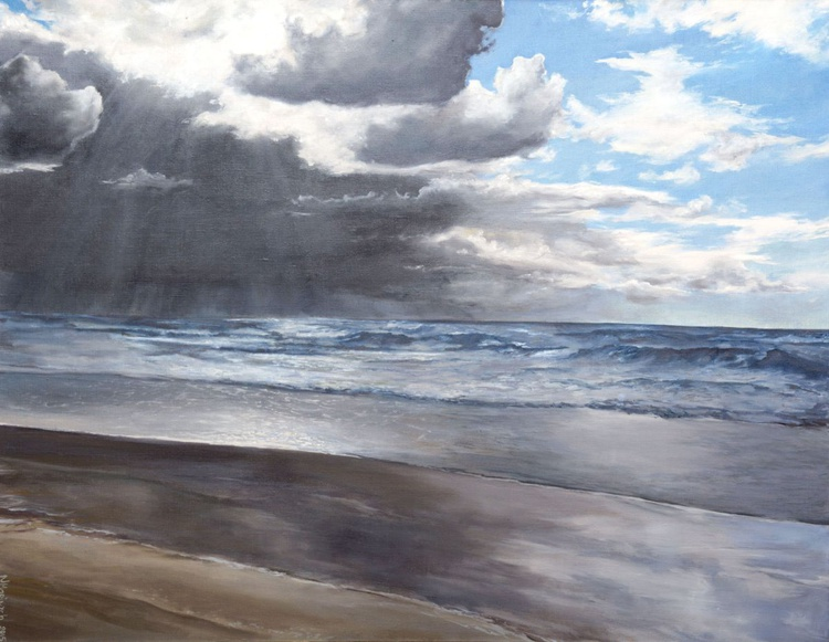 Original hand painted artwork, Gray day, Seascape - Image 0