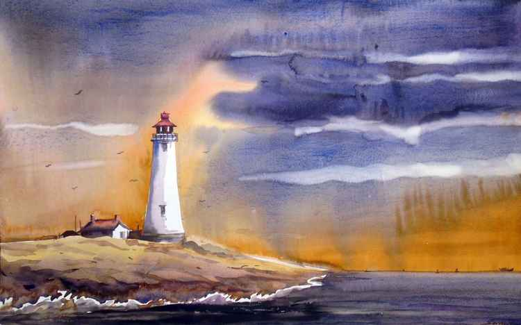 Lighthouse & Monsoon Beauty-Watercolor painting -