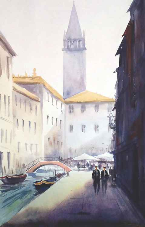 Venice Morning - Watercolor Painting -
