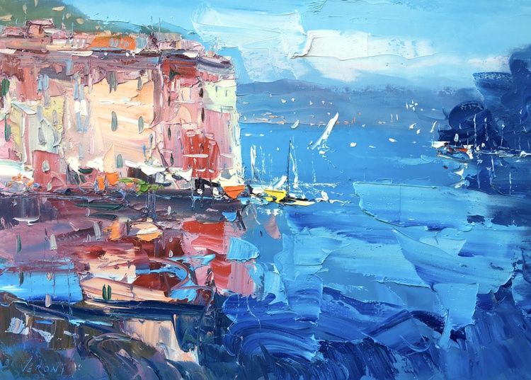 Landscape Painting of Portofino Italy Abstract Art Seascape Painting Sailing Painting Nautical Home Decor Unique Wedding Gift Ideas for Her - Image 0