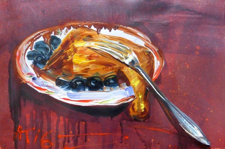 smoked ham, oil painting 30x20 cm - Image 0