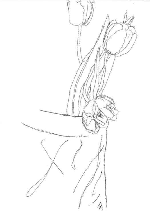 flowers in a vase sketch -