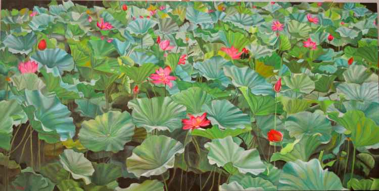 July 4th - lily pad - pond - flowers - art for mom - wedding gift -