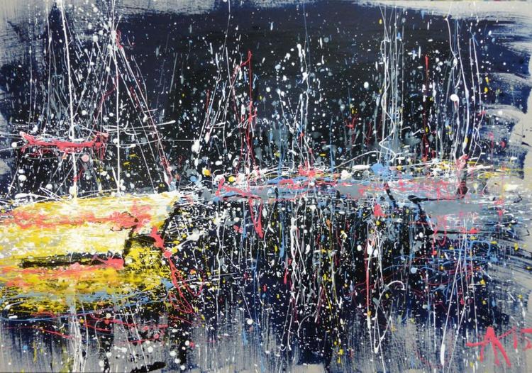 Night yachts, large painting 100x70 cm - Image 0