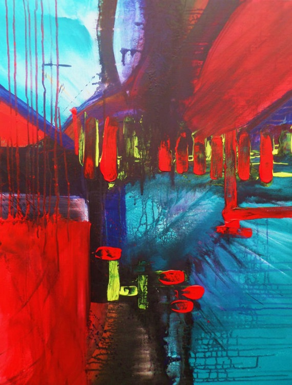 Abstract Nice Powerful colors  ---art painting // abstract painting // original painting // Large wall art // 28x36 inches - Image 0