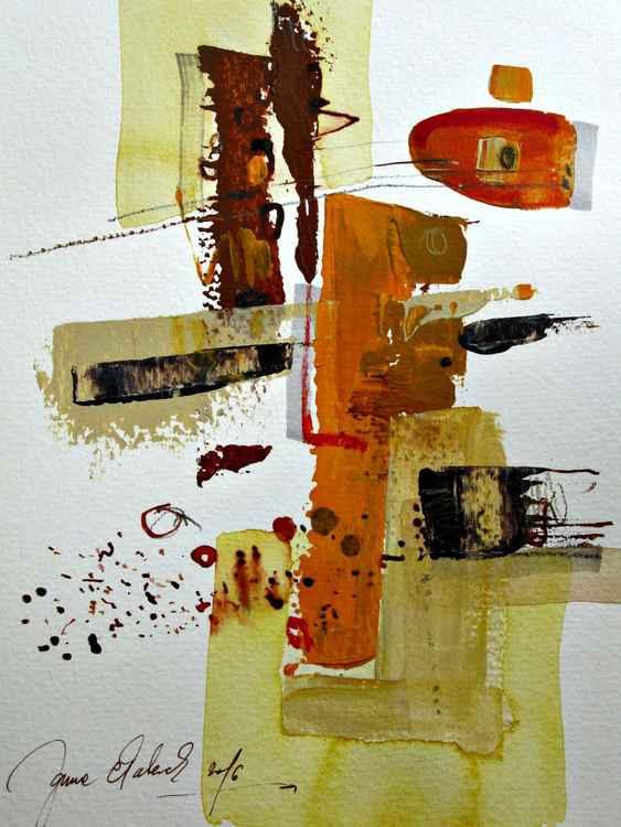 sepia abstract original mixed technic