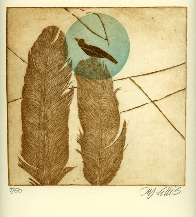 Feathers,  aquatint etching - Image 0