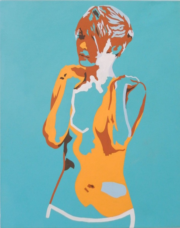 Standing Female Nude In Cerulean Blue and Yellow - Image 0