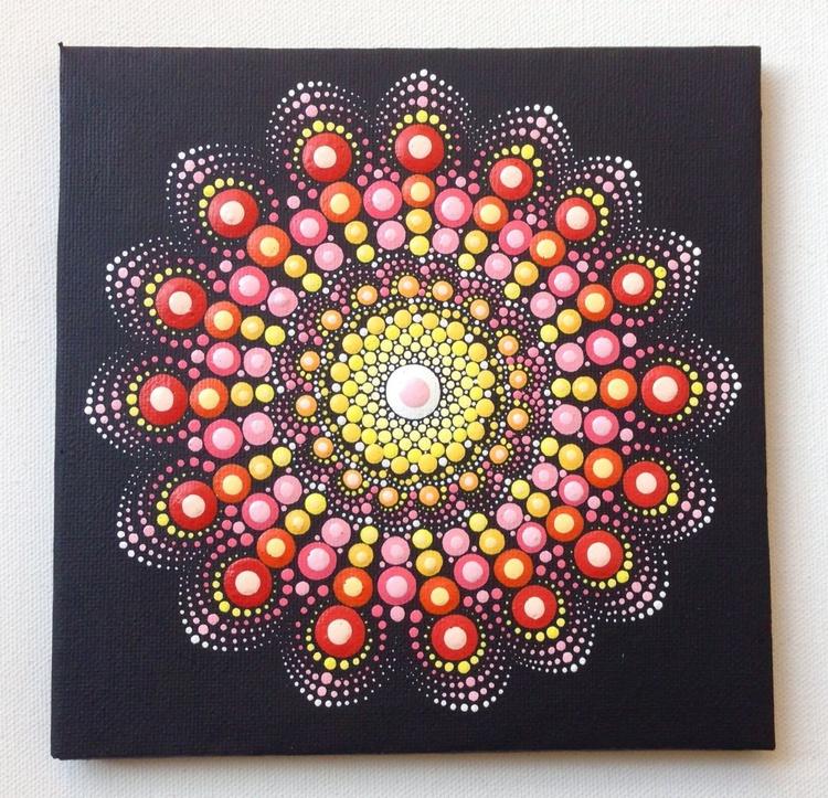 Red Dotart Mandala Painting on Canvas 15x15 cm Original - Image 0