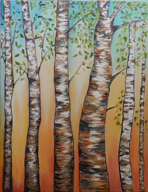 """""""Birch trees"""" -original oil painting abstract art  landscape home decor ready to hang - Image 0"""