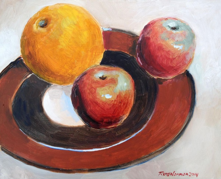 Orange with Two Apples - Image 0