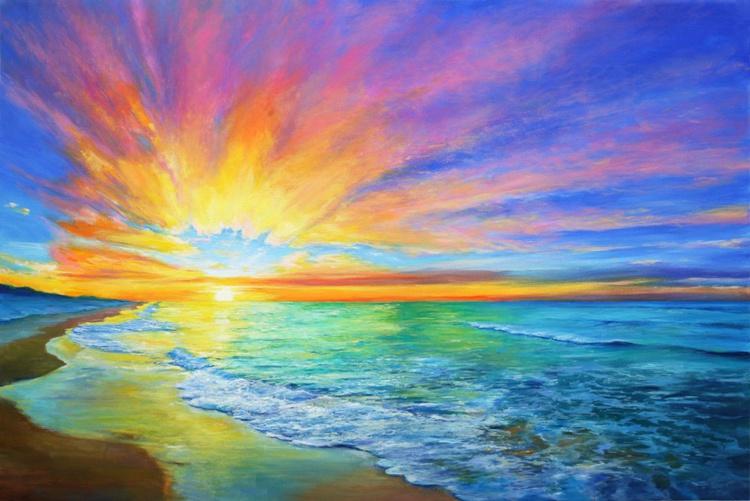 Mediterranean sunset - Large Painting - Image 0