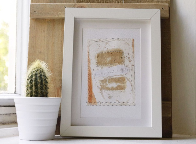 Composition II - Original collage on paper / watercolor painting - Image 0