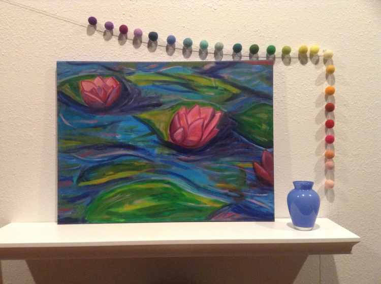 Water Lilies In A Pond Blue Wall Decor - Image 0