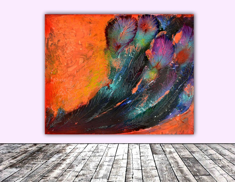 Shrouded by Fire  - 50X40 cm - Abstract, Ready to Hang, Office Wall Decoration - Image 0