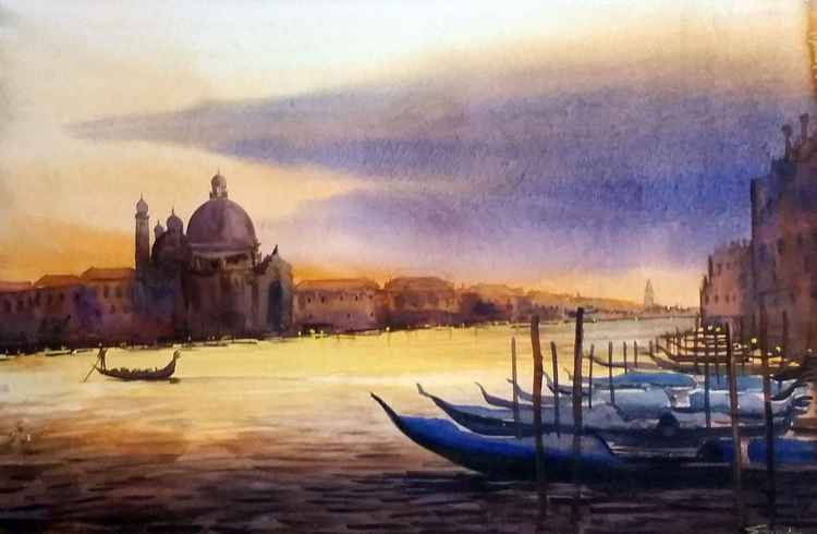 Cloudy Sunset Venice - Watercolor Painting -