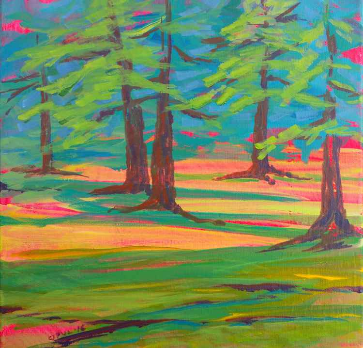 Row River Schwarz Park Trees abstract plein air landscape painting