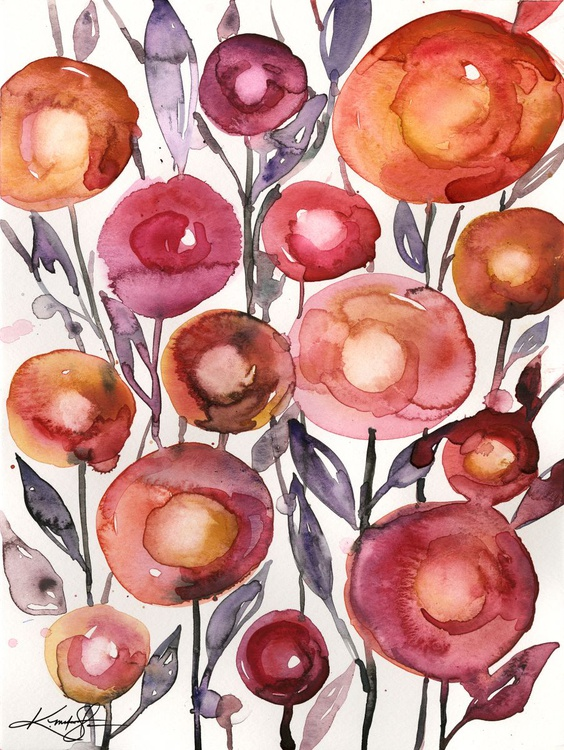 Flower Play  No. 2 - Flower Watercolor Painting - Image 0