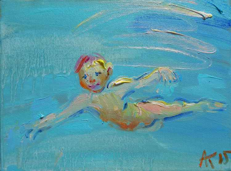 small diver, original painting 24x18 cm -