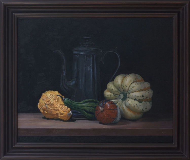 Squashes with an old coffee pot - Image 0