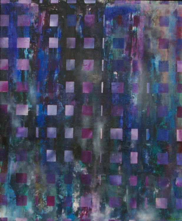 Spacey Squares - Original One of a Kind Framed Ready to Hang Abstract Oil Painting - Image 0