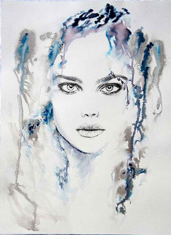 Natalie in blue /  40 cm x 50 cm. -