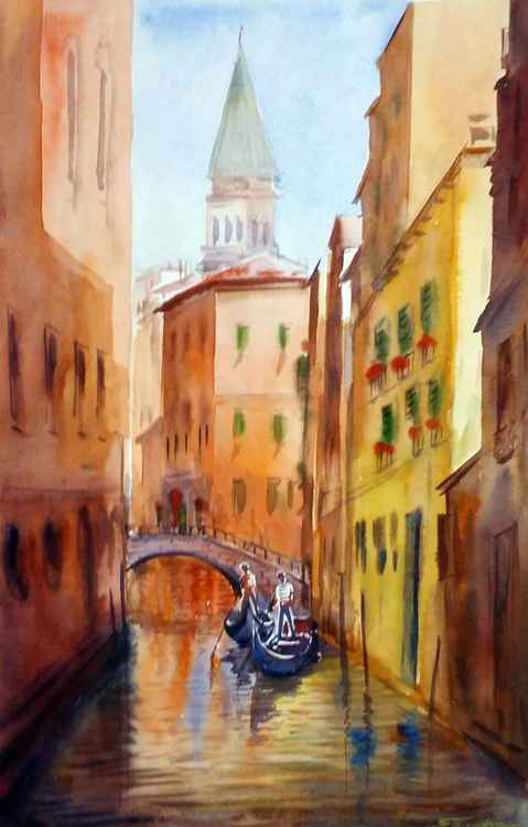 Morning Venice Canals II - Watercolor Painting -