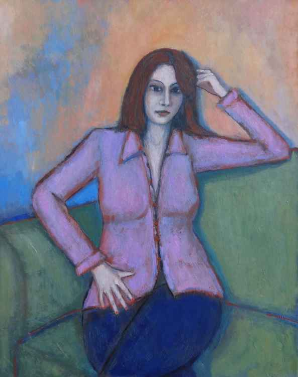 Woman in pink blouse