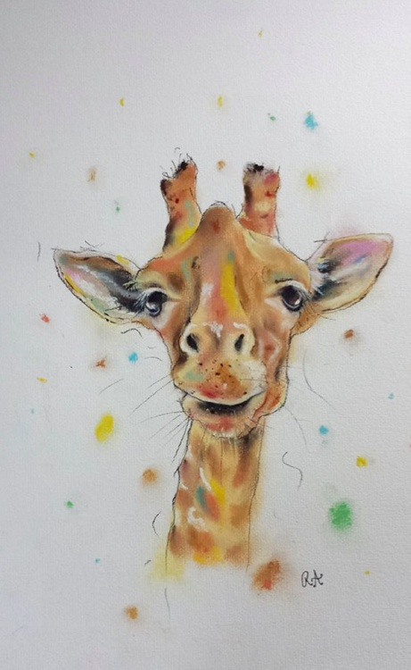 Colourful Giraffe - Pastel painting on paper - Impressionist - Image 0