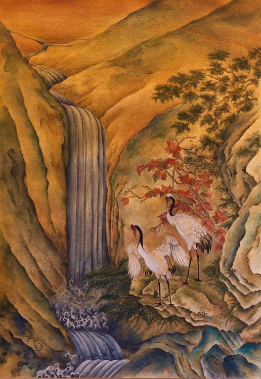Cranes Watching A Waterfall - Image 0