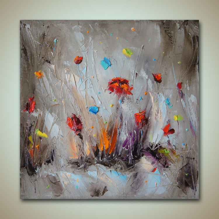 My garden, poppies oil painting - free shipping - Image 0
