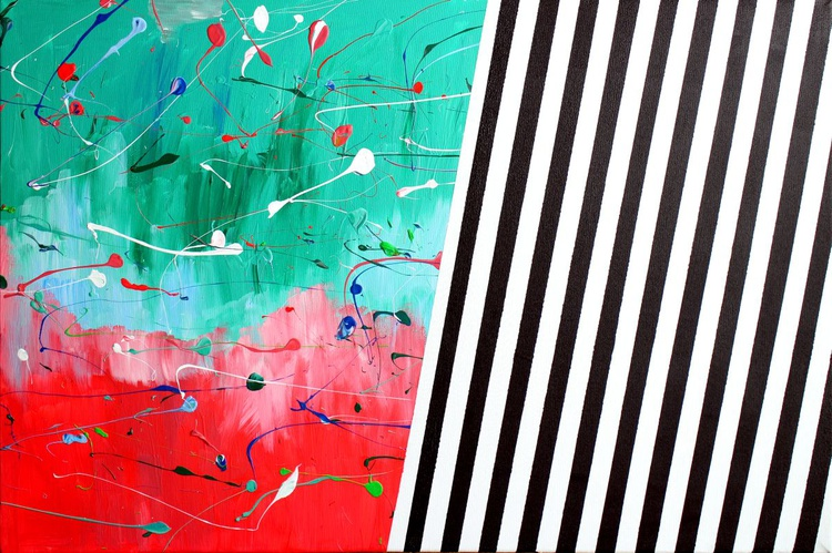 'Two Sides' Abstract Acrylic Painting On Canvas - Image 0