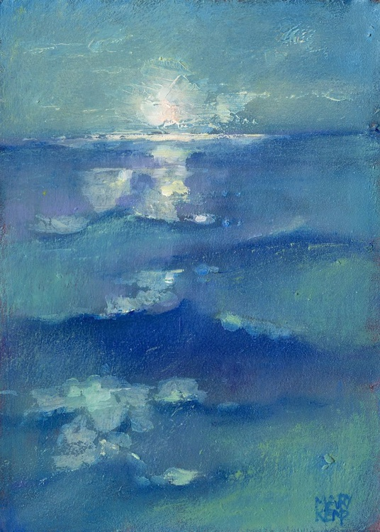 Moody Seascape. Small Blue Painting. - Image 0